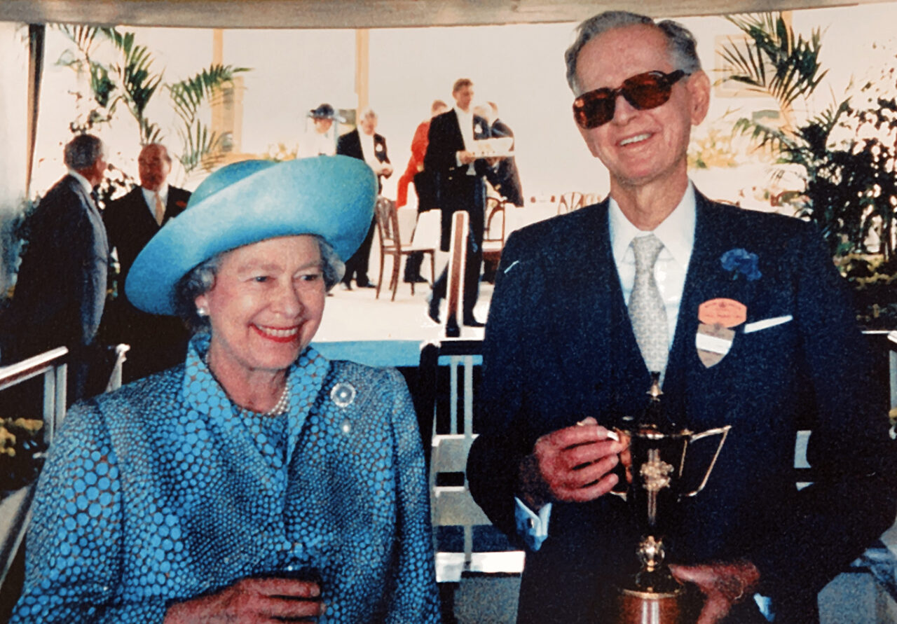 Mr Pearce and HM The Queen on winning the Ascot Gold Cup 1994
